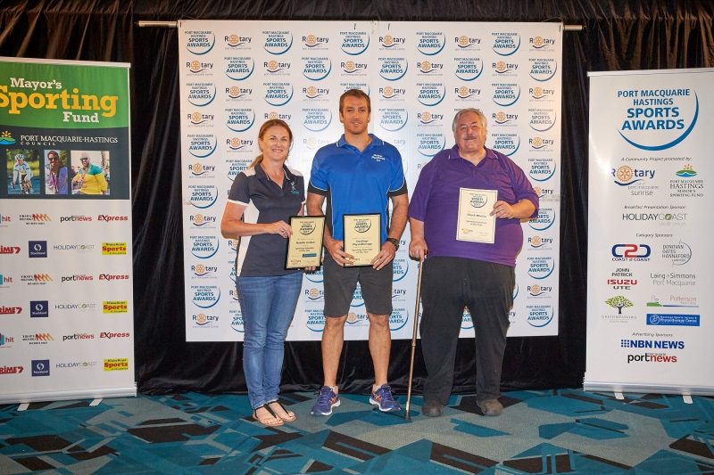 Sporting Volunteteer of the Year - Natalie Jordan (Winner), Chuck Murray (Runner Up). Presented by Guy Terkelsen, Hastings Physiotherapy.